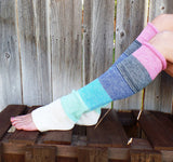 Colorful Knitted Wool Multicolor Leg Warmers With Buttons