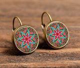 Mandala Lotus 18mm Glass Cabochon Earrings