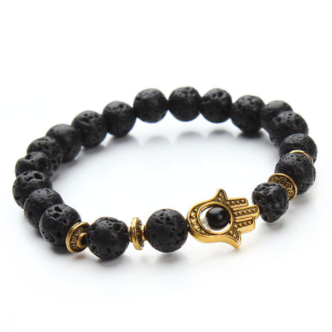 8mm Beaded Lava Energy Stone Bracelet with Gold Hamsa Charm