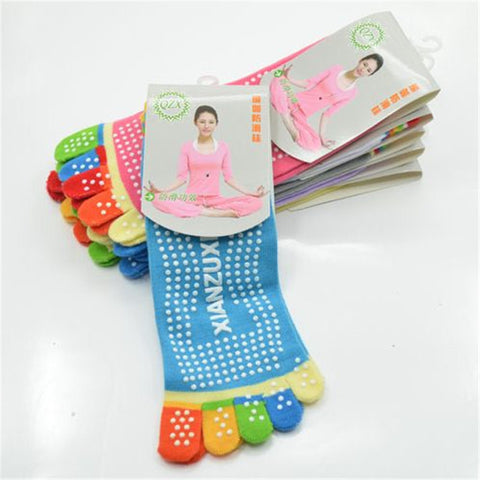 Colourful Toe Cotton Non-Slip Yoga Socks