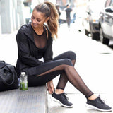Mid Waist Black Fitness Leggings With Mesh