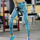 Womens Printed High Waisted Elastic Leggings for Yoga or Running