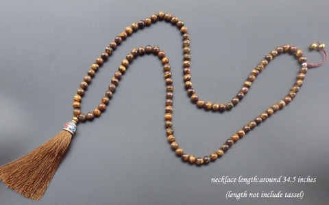 Mala 108 Tiger Eye Necklace with Long Tassel