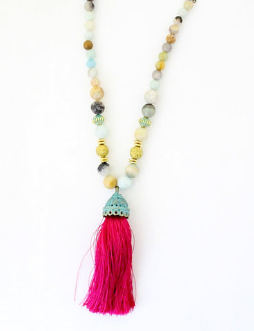 Handmade Beaded Natural Stone Long Tassel Necklace
