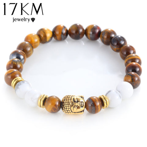 17KM Natural Stone Alloy Bracelet with Gold Color Buddha or Skull Charm
