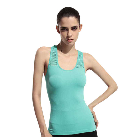 Womens Meshed Back Tight Fit Yoga Tops (One Size)