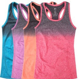 Womens Yoga Tank Top With Gradient Color, Elastic Breathable Material With Double Movement Design