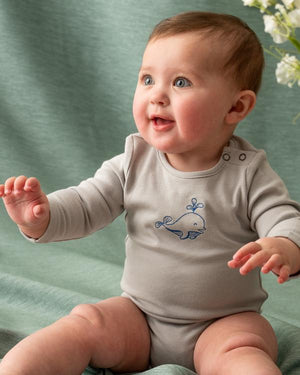 Organic Line - Dolphin Long Sleeve Bodysuit - Grey