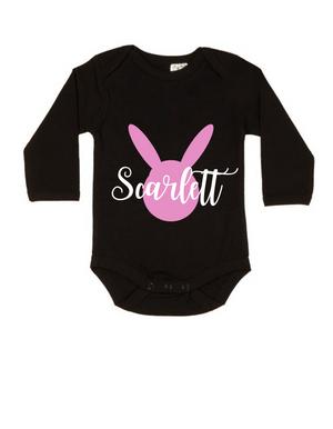 MLW By Design - Easter Personalised LS Black Bodysuit | Pink
