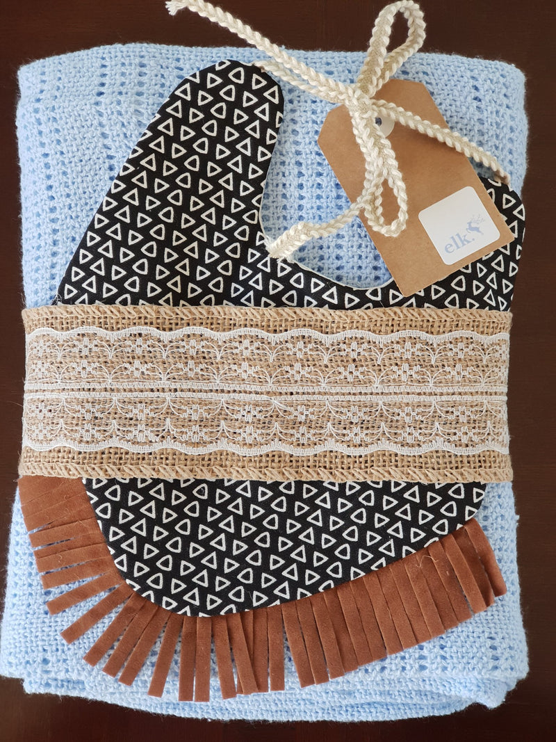 Elk Nursery - Knitted Shawl and Bib set - Blue