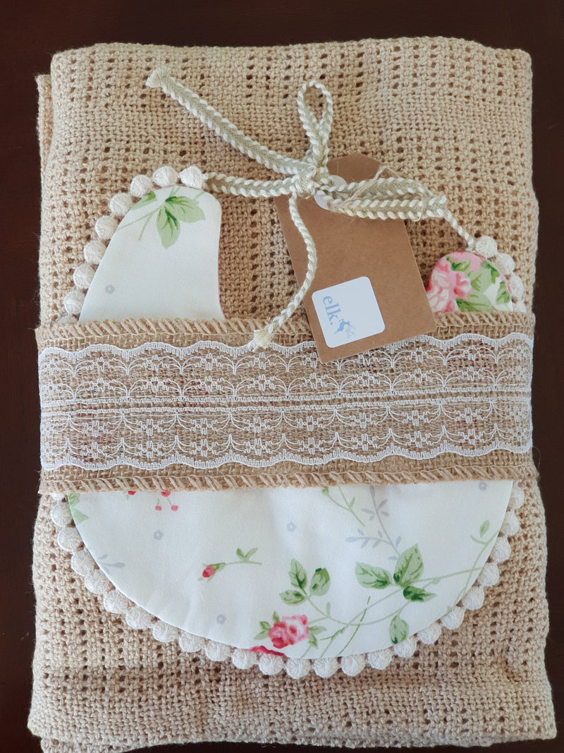Elk Nursery - Knitted Shawl and Bib set - Soft Gold