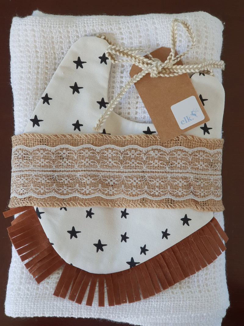 Elk Nursery - Knitted Shawl and Bib set - White