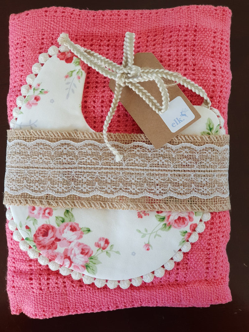 Elk Nursery - Knitted Shawl and Bib set - Watermelon