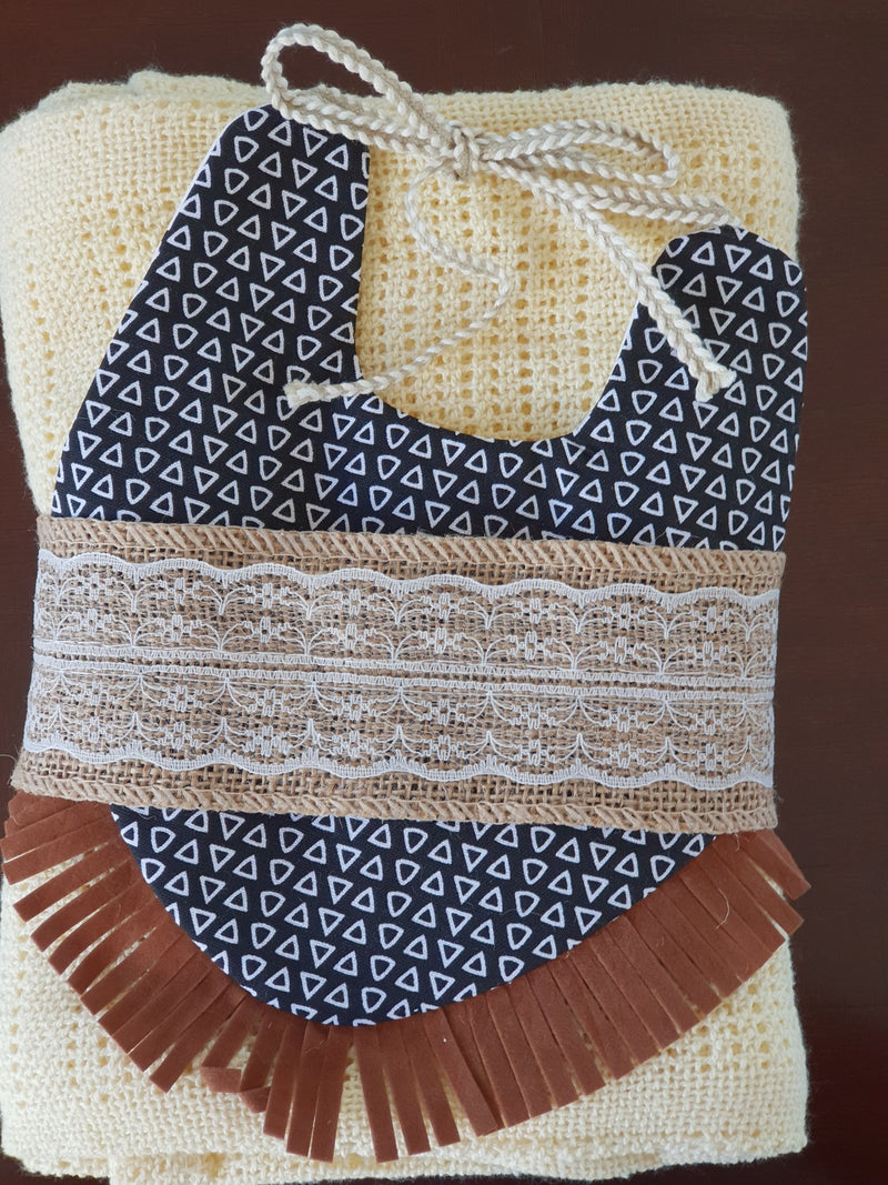 Elk Nursery - Knitted Shawl and Bib set - Lemon
