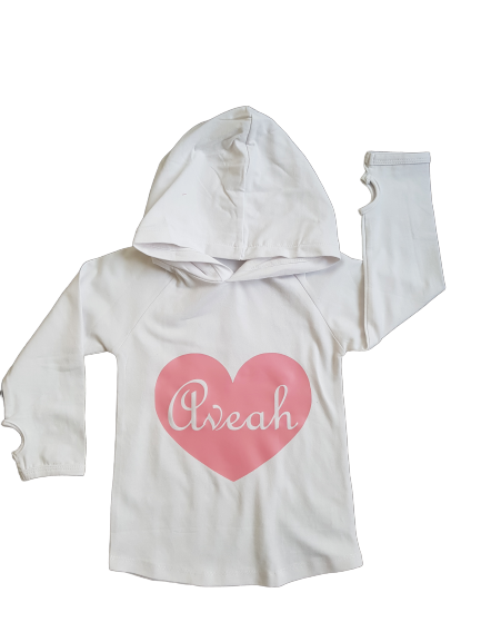 MLW By Design - Personalised Name Heart Hoodie | White | Name AVEAH