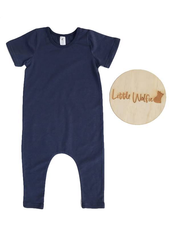 Little Wolfie -  Wolfie Romper Navy Blue