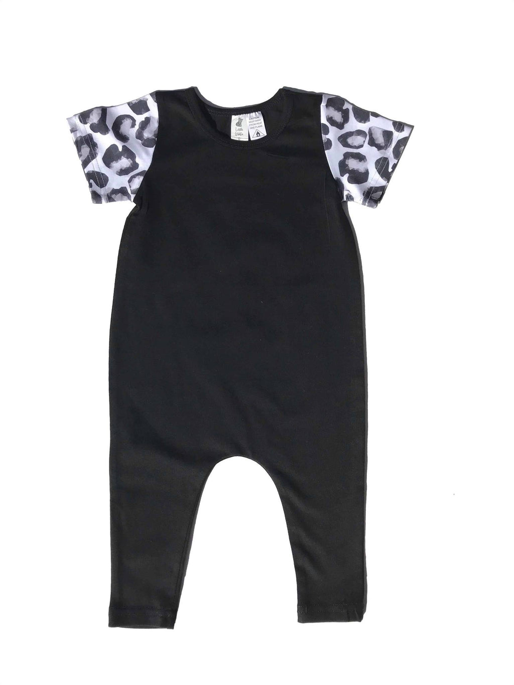 Little Wolfie - Black Romper with Leopard Sleeves