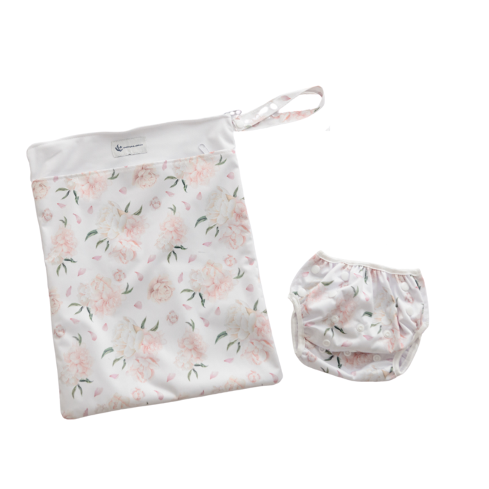 Anchor & Arrow - Reusable Swim Nappy & Wet Bag - Peony