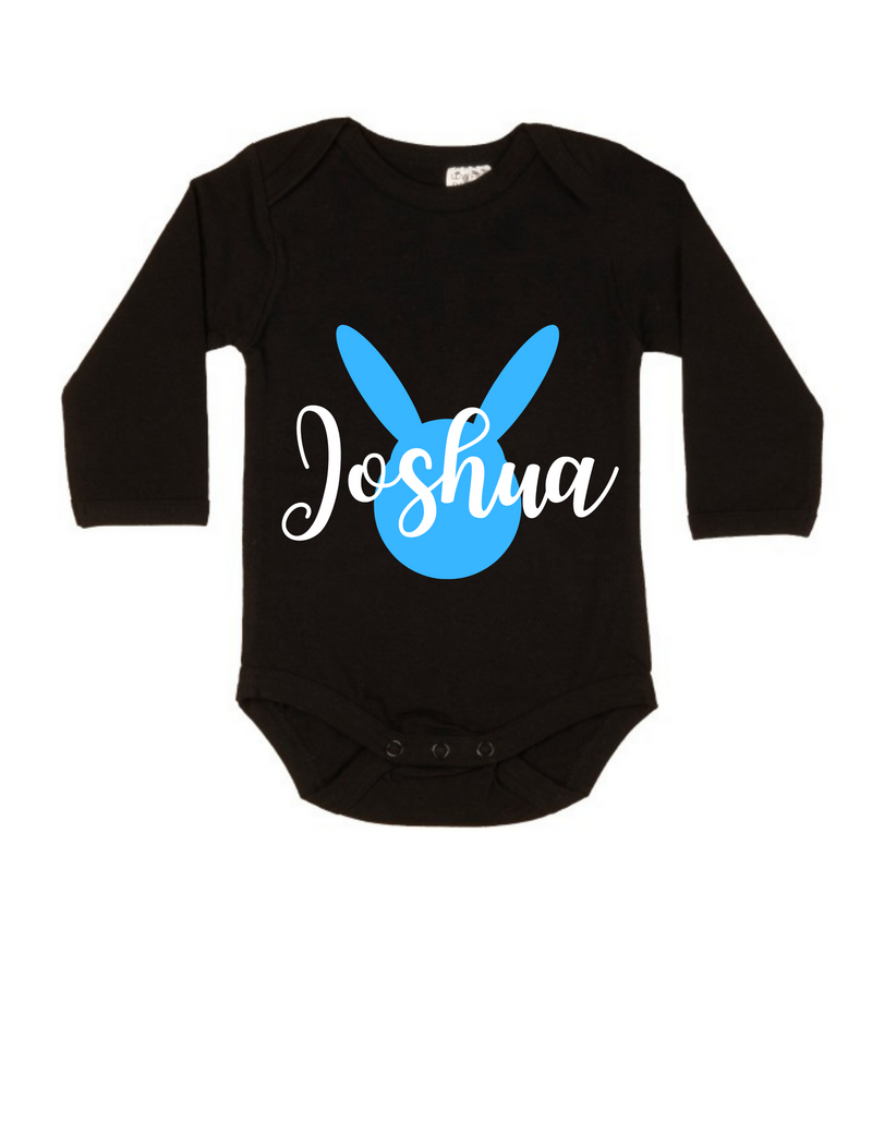 MLW By Design - Easter Personalised LS Black Bodysuit | Blue