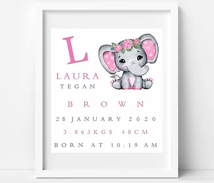 BabyCusch - Pink Floral Elephant Frame