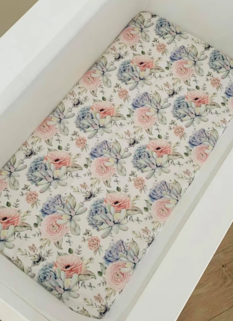 Olive June & Co - Fitted Bassinet Sheet | Succulent