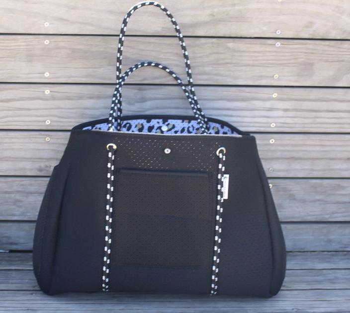 Anchor & Arrow - Ultimate Mums Bag - Black / Leopard Print