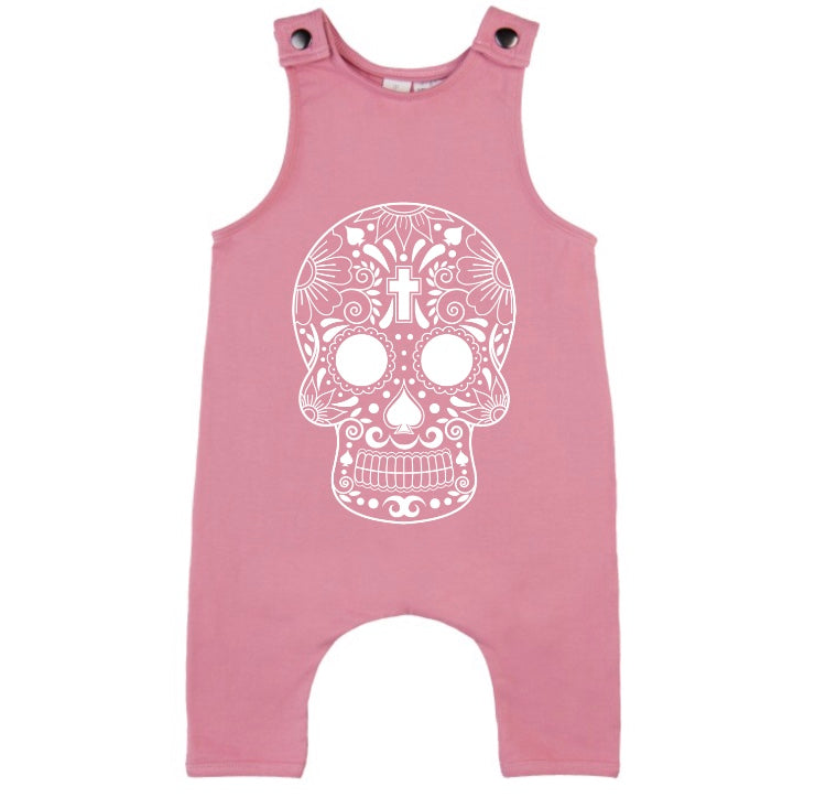 MLW By Design - Cross Skull Slouch Romper | Pink