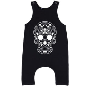 MLW By Design - Cross Skull Slouch Romper | Black