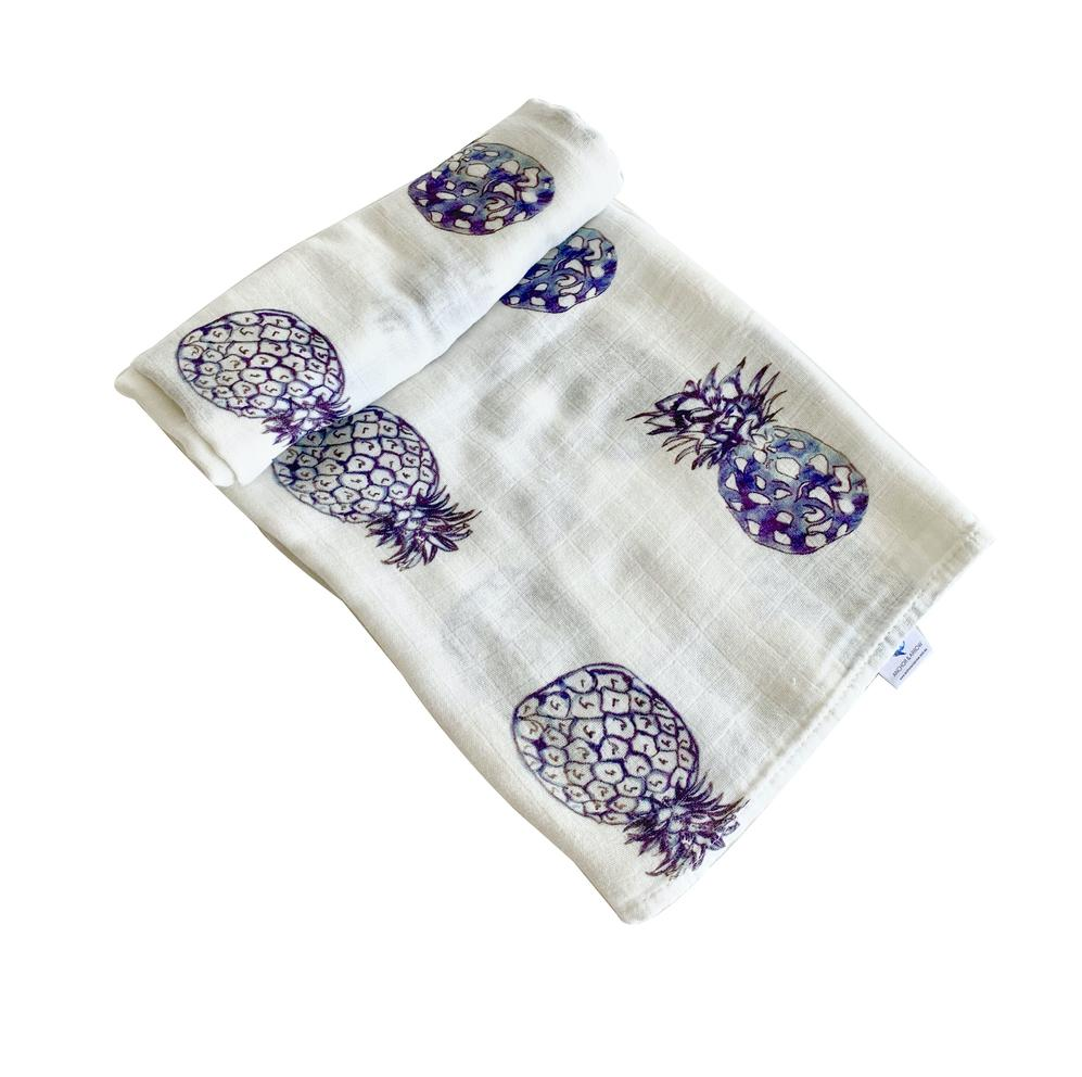 "Anchor & Arrow - '""Blue Pineapples"" Baby Swaddle"