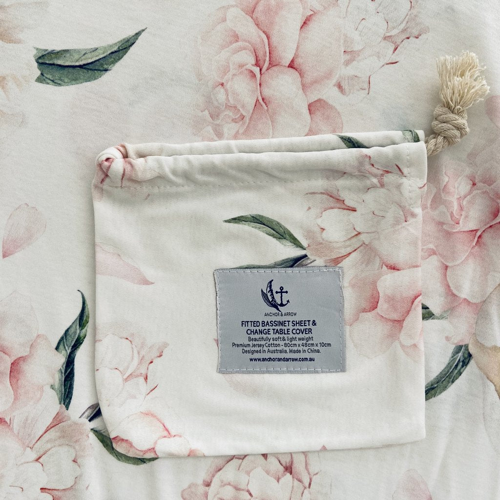 "Anchor & Arrow - ""Pretty Peony"" bassinet sheet and change table cover"