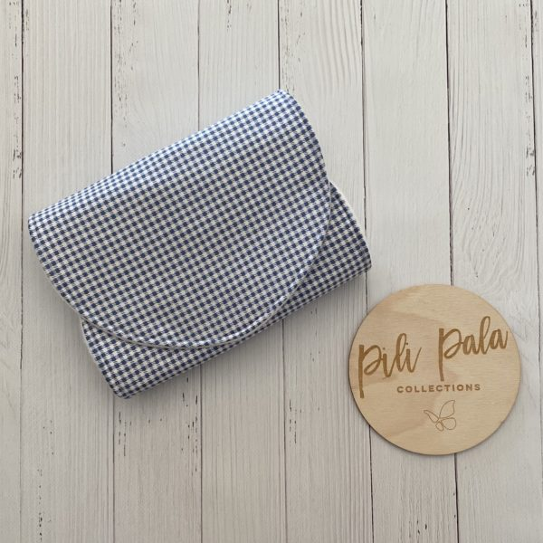 Pili Pala Collections - Gingham Blue Contoured Burp Cloth