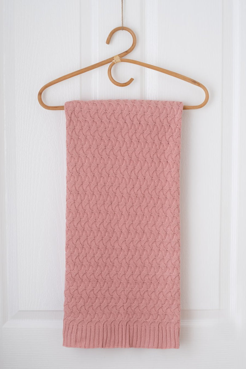 Kute Cuddles - Faith Knit Baby Blanket - Dusty Rose