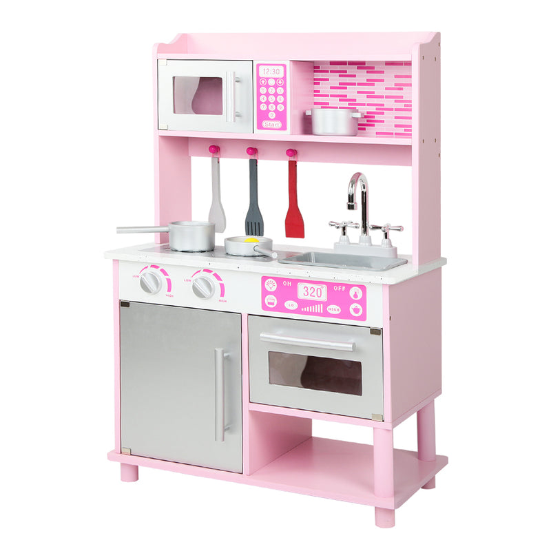 Kids Wooden Kitchen Play Set | Pink & Silver