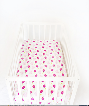 Anchor & Arrow - Love Tulips Cot Sheets
