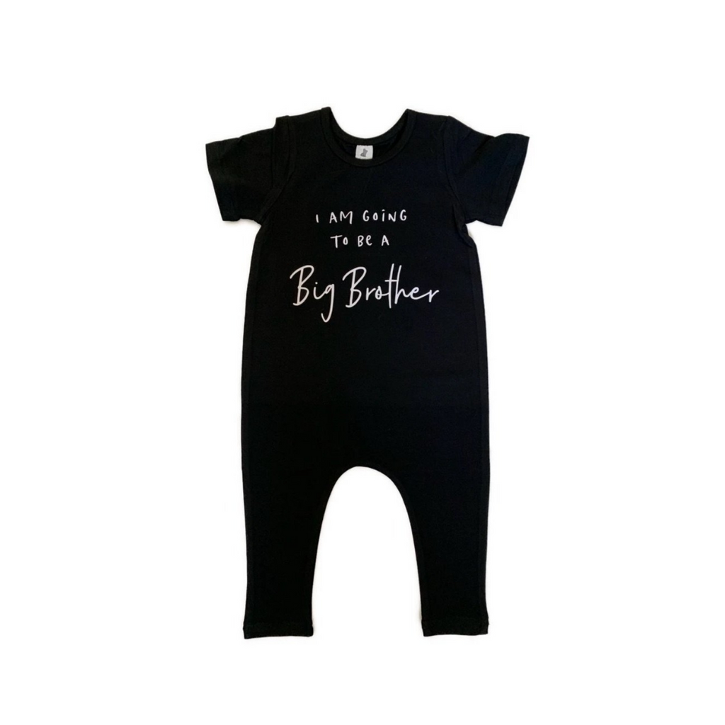 Little Wolfie - Big Brother Romper | Black