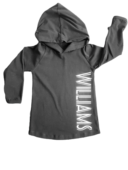 MLW By Design - Personalised Striped Name Hoodie | BLACK | Name WILLIAMS