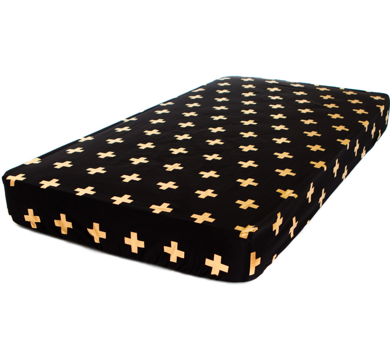 Bambella Designs - Fitted Cot Sheet | Cross Gold