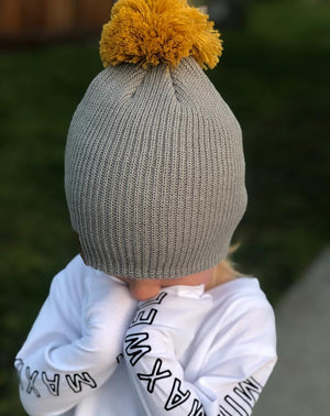 Mini Maxwell - Mustard - Grey Days Beanie