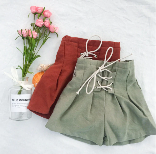 High Waisted Lace Ups | Green or Brown
