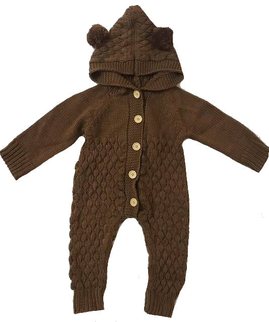 Bear Knit Onesie | Brown