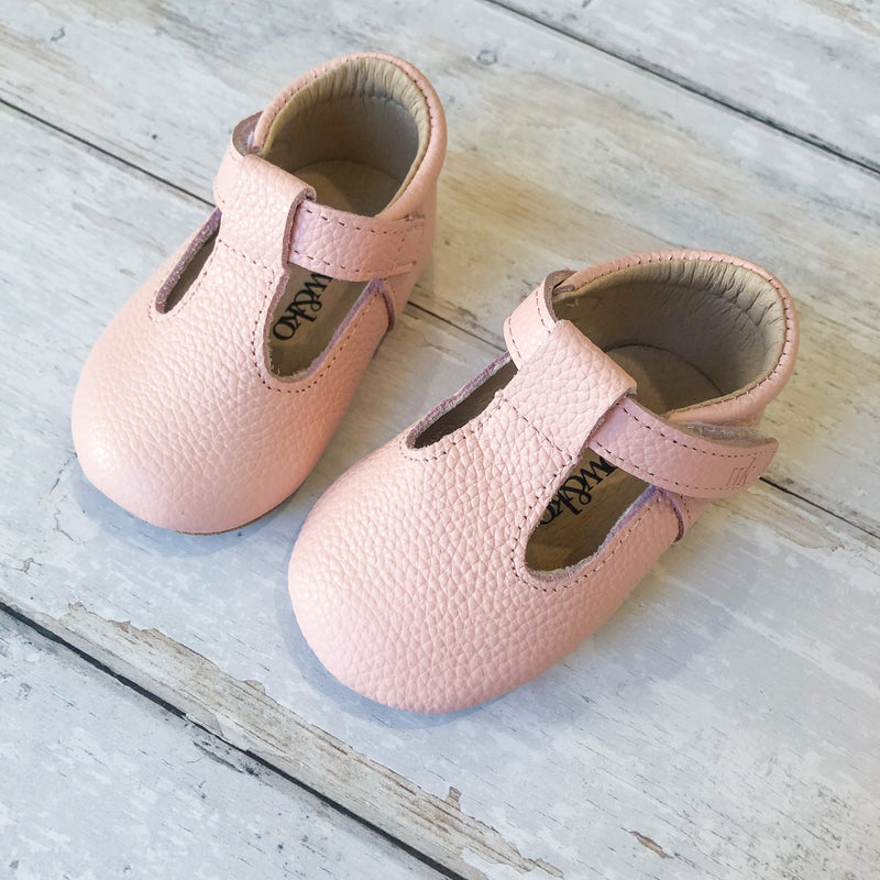 Willow & Ko - Baby T-Bar Soft Sole - Baby Pink