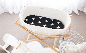 Bambella Designs - Bassinet WATERPROOF Mattress Protector Cross Black