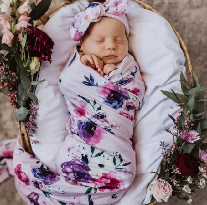 Snuggle Hunny Kids - Floral Kiss Baby Jersey Wrap & Topknot Set