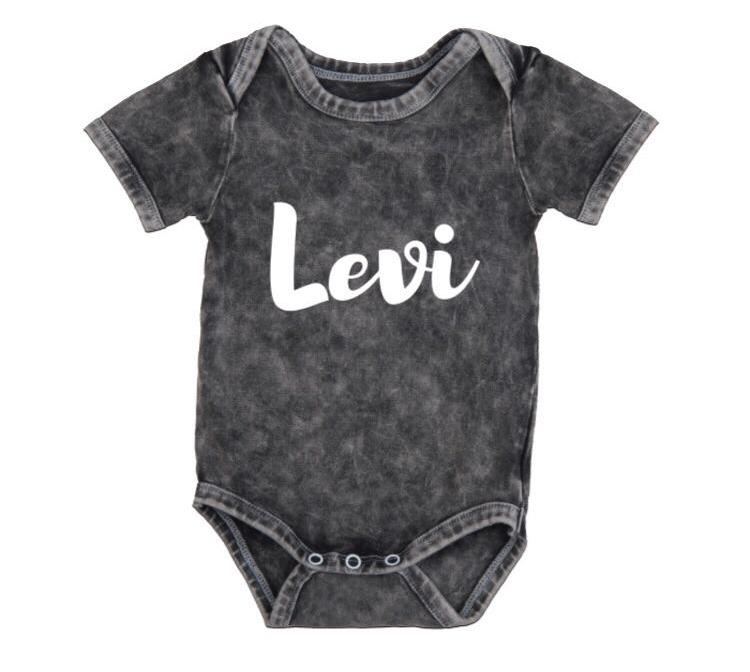 MLW by Design - Personalised Name Stonewash Bodysuit | White Print