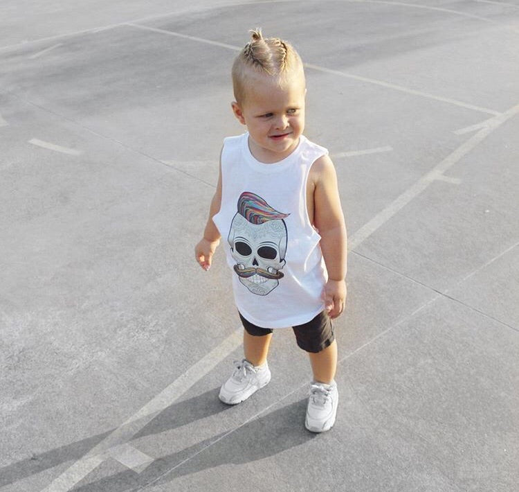 MLW By Design - Hipster Skull Muscle Tank | White