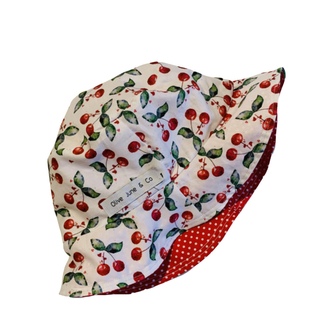 Olive June and Co - Sun Bucket Reversible Hat | Sweet Cherry