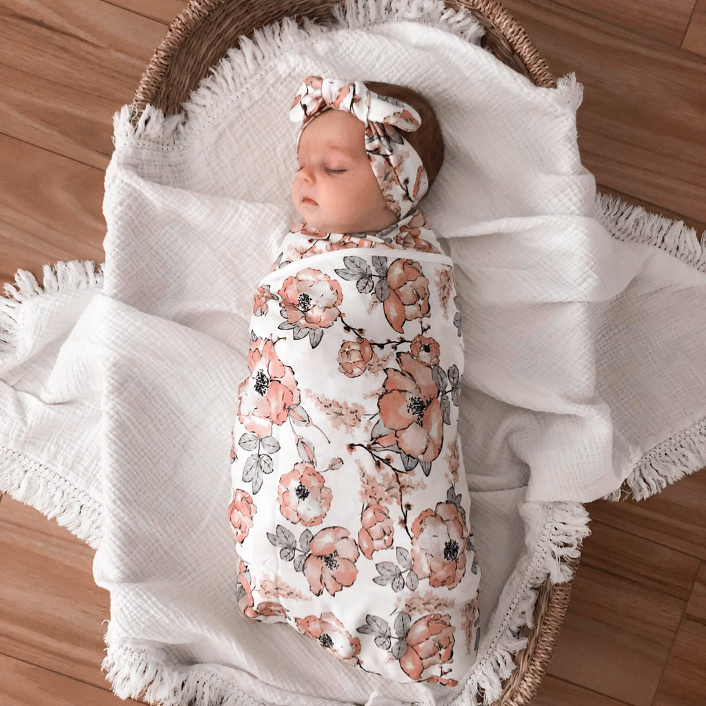 CMC GOLD - Blushing Bloom Floral Swaddle Set