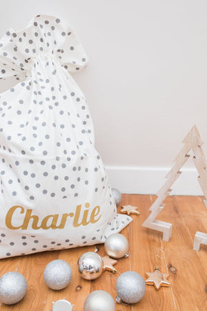 Little Wolfie - Christmas Personalised Santa Sack - Grey Polka Dot