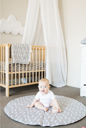 Bambella Designs - Play Mat | Grey Feathers