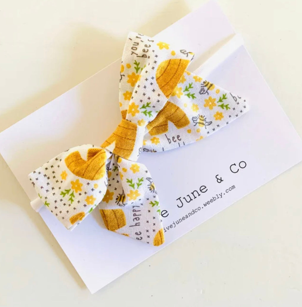 Olive June and Co - Handmade Indie Bow Headband | Bee Happy